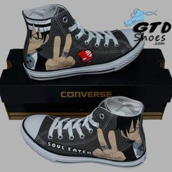 DCCK1IN hand painted converse hi sneakers soul eater death the kid anime cartoon handpai