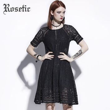 Casual Dress Lace Hollow Black Gothic Dresses O-Neck Fashion Goth Sexy Party A-Line Gothics Dress