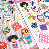 Japan culture cartoon sticker japanese lucky cat doll toy decoration little icon traditional dress Kimono cute collection sticker label
