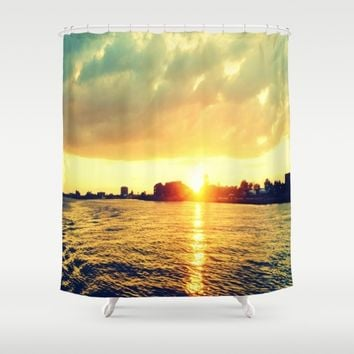 Sunset watEr :Houses Off the River Shower Curtain by 2sweet4words Designs