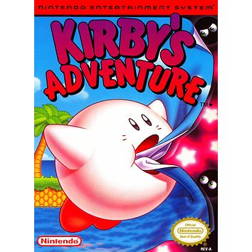 Retro Kirby's Adventure Game Poster//NES Game Poster//Video Game Poster//Vintage Game Cover Reprint