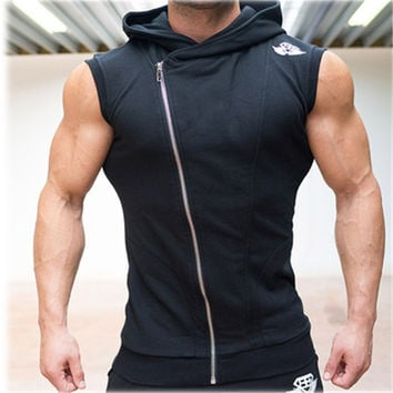 2016 New Men Hoodie Brand Sweatshirts Fitness Workout Sleeveless Tees Shirt Cotton Vest Singlets Hooded Undershirt