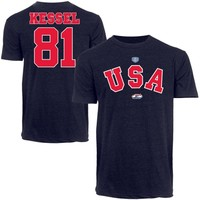 Old Time Hockey Phil Kessel USA Hockey 2014 Sochi Olympics T-Shirt - Navy Blue