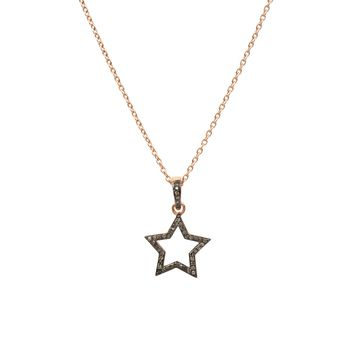 Diamond Open Star Necklace rosegold