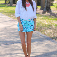 Sea Anchor Shorts, Aqua