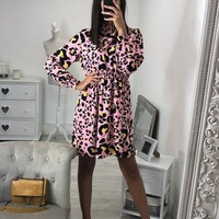 New Pink Leopard Print Band Collar Long Sleeve Fashion Mini Dress