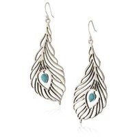 "Lucky Brand ""Openwork Ears"" Silver-Tone Peacock Feather Earrings"