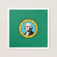 Patriotic paper napkins with Washington State flag