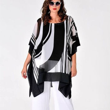 Women Blouses Chiffon Bating Sleeves Loose Tops ZB3298 [8833604940]