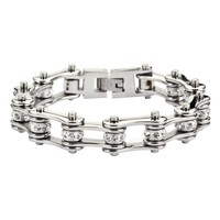Silver Stainless Steel Chain Bracelets with Rolling Crystals
