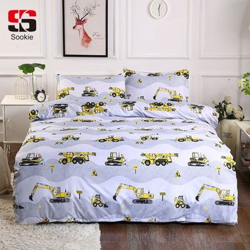Sookie Road Excavator Bedding Set Tools Print Duvet Cover and Pillowcases Twin Full Queen King Size Bed Linen 3pcs Bedclothes