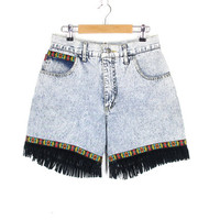 90s Fringe Shorts -- Jean Shorts -- Aztec Shorts -- Acid Wash -- Native Boho Festival Shorts -- High Waisted Denim Shorts -- Womens Size S