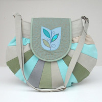 NEW COLLECTION Round as the world unique handmade bag with tulip window motif in grayish blue and turquoise colors