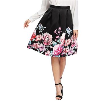 Women Boxed Pleated Flower Print Skirt Multicolor Mid Waist Fit and Flare Knee Length Skirt