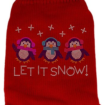 Let It Snow Penguins Rhinestone Knit Pet Sweater Sm Red