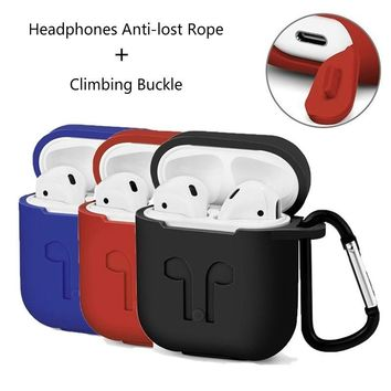 Wireless Bluetooth Headset Airpods Silicone Case with Climbing Buckle Headphones Anti-lost Rope
