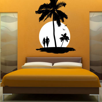 Vinyl Wall Decal Sticker Vacation Sunset #1142