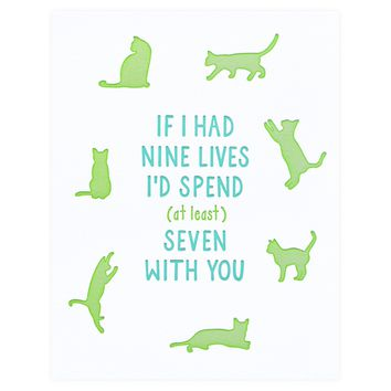 Nine Lives Love Greeting Card