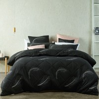 Tabu Charcoal Lightly Quilted Quilt Cover Set OR Accessories by Bianca