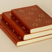 Leather Notebook Journal Travel Diary laser cut floral design recycled cotton paper
