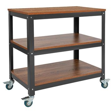 """Livingston Collection 30"""" x 30"""" Industrial Storage Cart in Brown Oak Wood Grain Finish with Metal Wheels"""