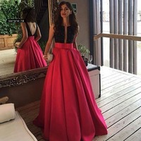 Robe De Soiree Sexy Backless Satin  Evening Dress Long Rose Red Beading Sleeveless  Evening Party Dress 2017 Serene Hill
