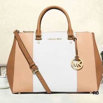 MCHAEL KORS Women Shopping Leather Tote Crossbody Satchel Shoulder Bag White nude pink