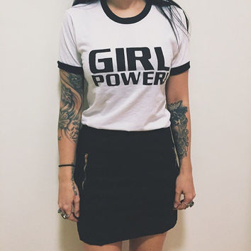 Girl Power 90s Spice Girls baby doll ringer shirt