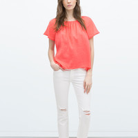 BLOUSE WITH RUFFLE SLEEVES