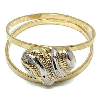 TriColor Heart Double Band  Ring 18Kts Of Gold Plated