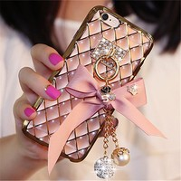 For iPhone 5S 6S 7 8 Plus For Samsung S5 S6 S7 note 5 3D Bling Diamond Cloth Bow Soft Transparent TPU Phone case back Covers