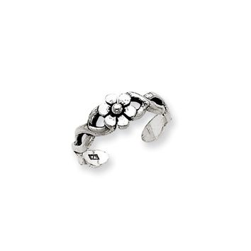 Antiqued Daisy and Twist Toe Ring in Sterling Silver