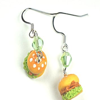 chicken sandwich dangle earrings