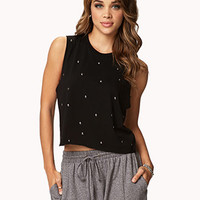 Studded Cropped Muscle Tee