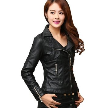 Autumn &Winter Slim Fashion Retro Streetwear Femininos Cool Punk Coatwomen Pu Leather Jacket