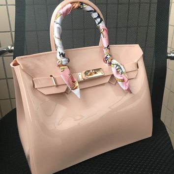 Liyongyi 30cm large size Women Plastic Jelly Handbags Designer Girls Fashion Candy Color Shoulder Bags Waterproof PVC Beach Bags