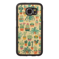 Colorful Cactus Flower Pattern Wood Phone Case