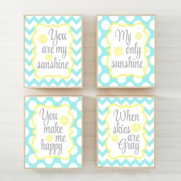 You Are My SUNSHINE Wall Art, CANVAS or Print Yellow Aqua Baby Girl NURSERY Decor, My Sunshine Girl Nursery Rhyme Song Quote Decor Set of 4