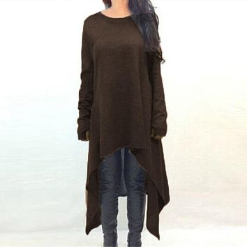 Women Sweater Dress  Long Sleeve Asymmetric Hem Casual Loose Knitted Midi