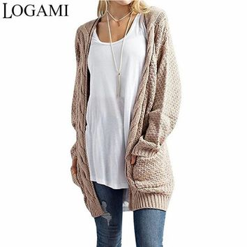 Knitted Cable Long Cardigan