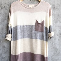 eden - long sleeve color block sweater tunic - mauve multi