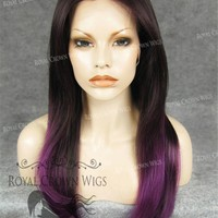 """24 inch Heat Safe Synthetic Straight Texture Lace Front """"Aphrodite"""" in Purple Ombre"""