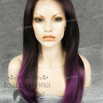 "24 inch Heat Safe Synthetic Straight Texture Lace Front ""Aphrodite"" in Purple Ombre"