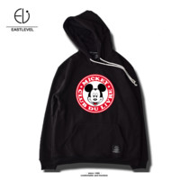 Winter new men 's tide brand sweater hooded loose head plus velvet thick cotton Mickey cartoon printing Mickey