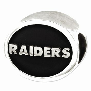 Sterling Silver Enameled Oakland Raiders NFL Bead