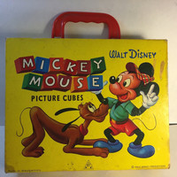 Rare Vintage 1950s Walt Disney Wooden Picture Cubes - Six puzzles — made in West Germany VG