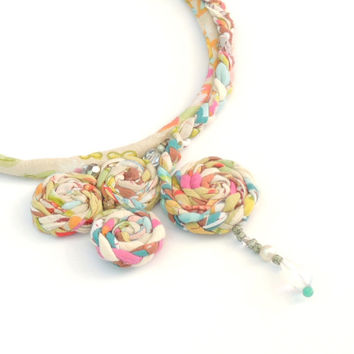 Light colored Woman's handmade necklace,textile necklace.braided jewelry, fiber art necklace,