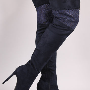 Suede Scalloped Lace Panel Pointy Toe Stiletto Boots
