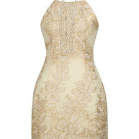 Golden Embroidery Lace Halter Cross Strap Back Bodycon Dress