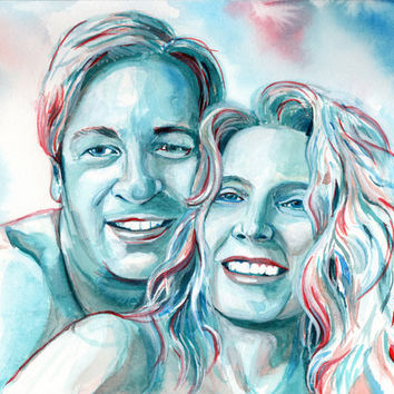 25th WEDDING anniversary SPECIAL GIFT - Couple watercolor portrait